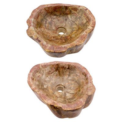 Indomarmer Polierte Set Waschbecken aus Versteinertes Holz