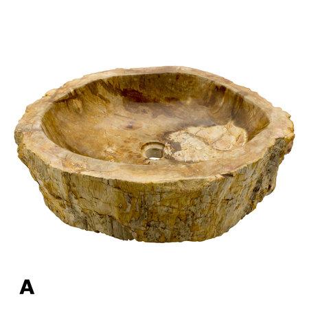 Indomarmer Set Waskommen van Versteend Hout
