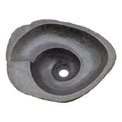 Indomarmer Waschbecken aus Flussstein Spirale 44x36x15cm