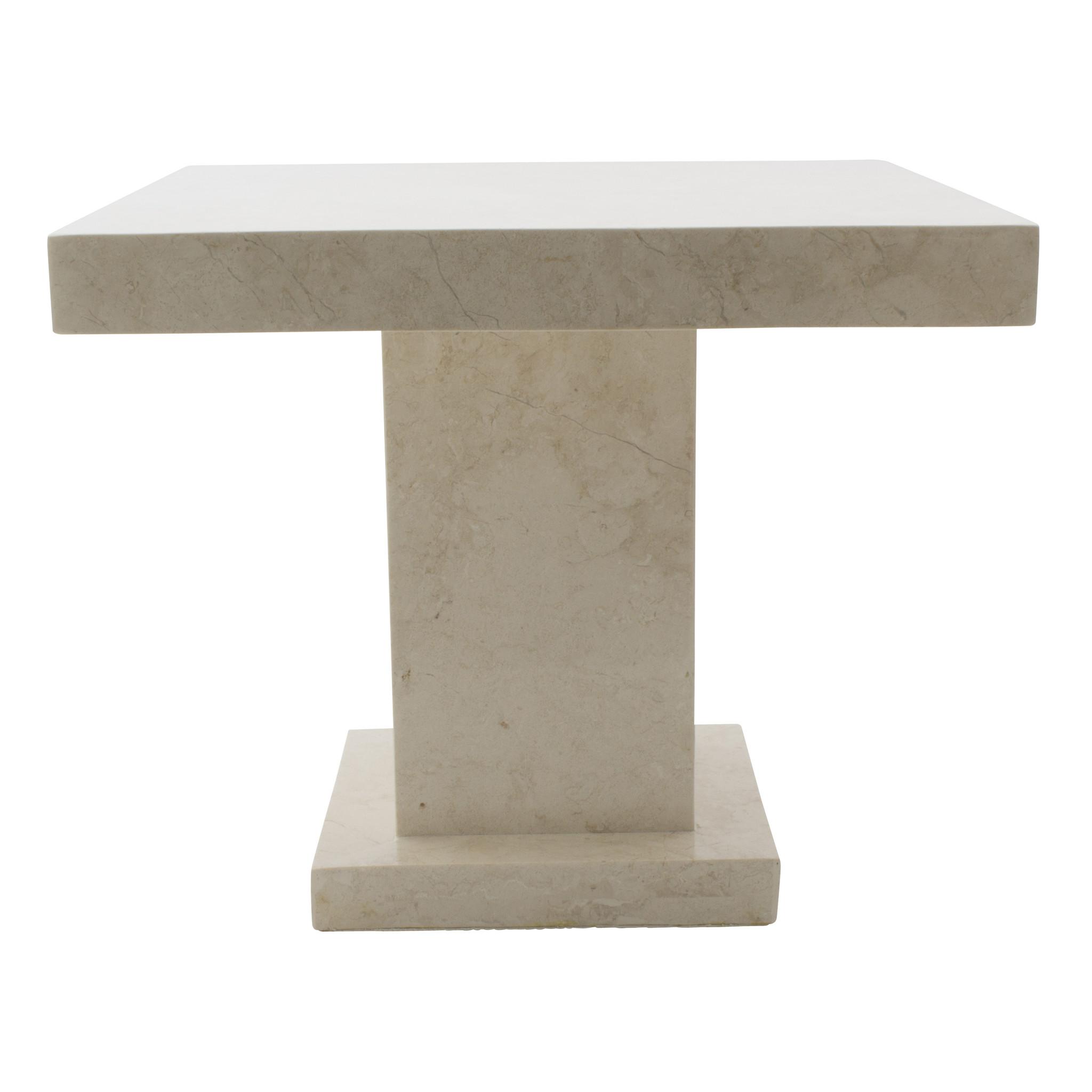 Indomarmer Beistelltisch Quadrat 50x50x40 cm Creme Marmor