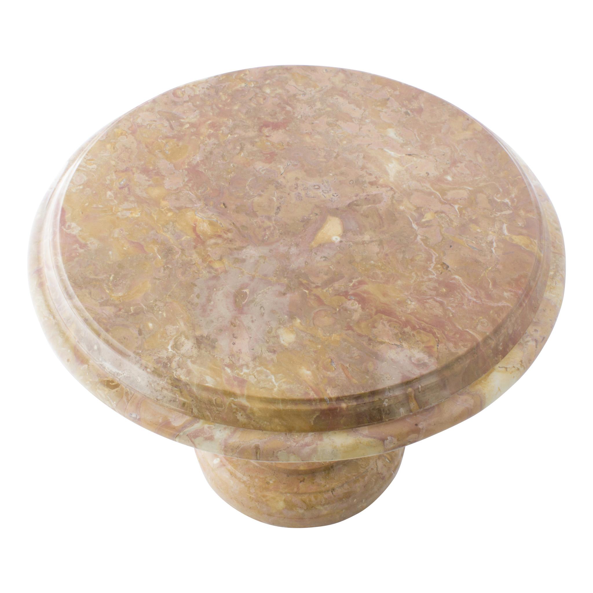 Indomarmer Beistelltisch Rund Ø50xH40 cm Rotem Marmor