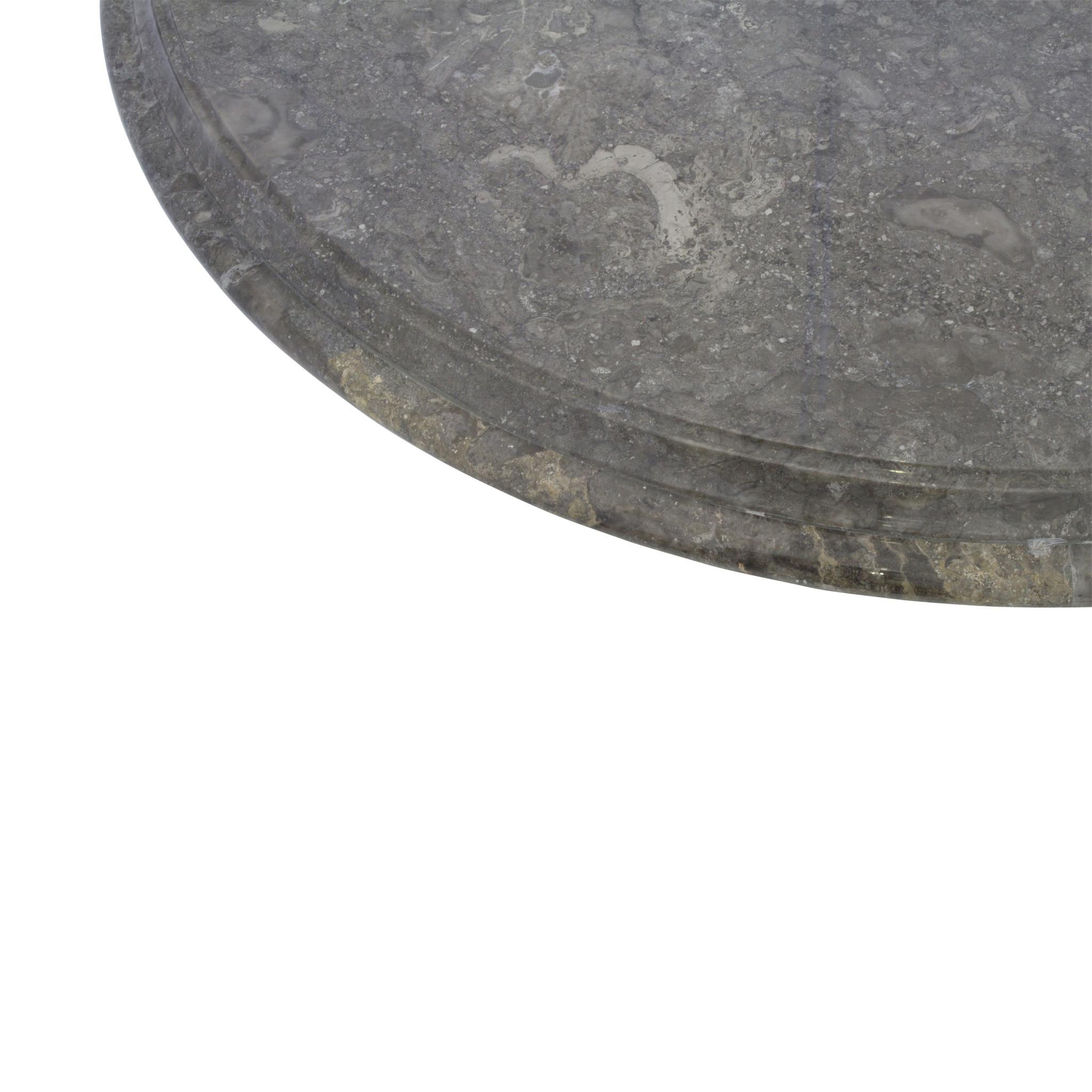 Indomarmer Couchtisch Rund Ø80xH45 cm Grauer Marmor