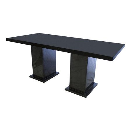 Indomarmer Eettafel Rechthoek 200x90x79 cm Zwart Marmer