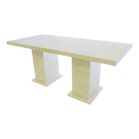 Indomarmer Eettafel Rechthoek 200x90x79 cm Crème Marmer