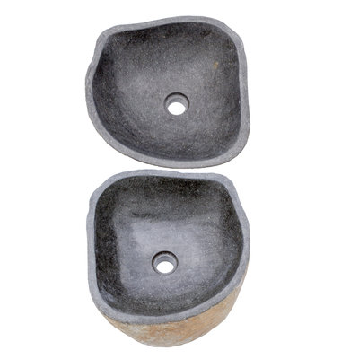 Indomarmer Set Waschbecken aus Flussstein