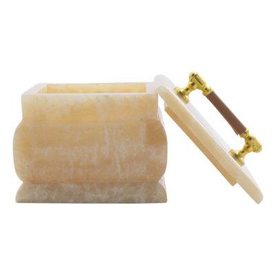 Indomarmer Dose aus Onyx Winkelform