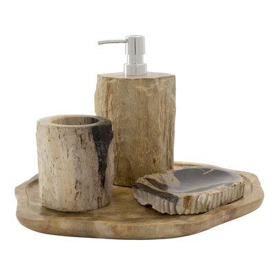 Indomarmer 4-Piece Petrified Wood Bath Set Liana