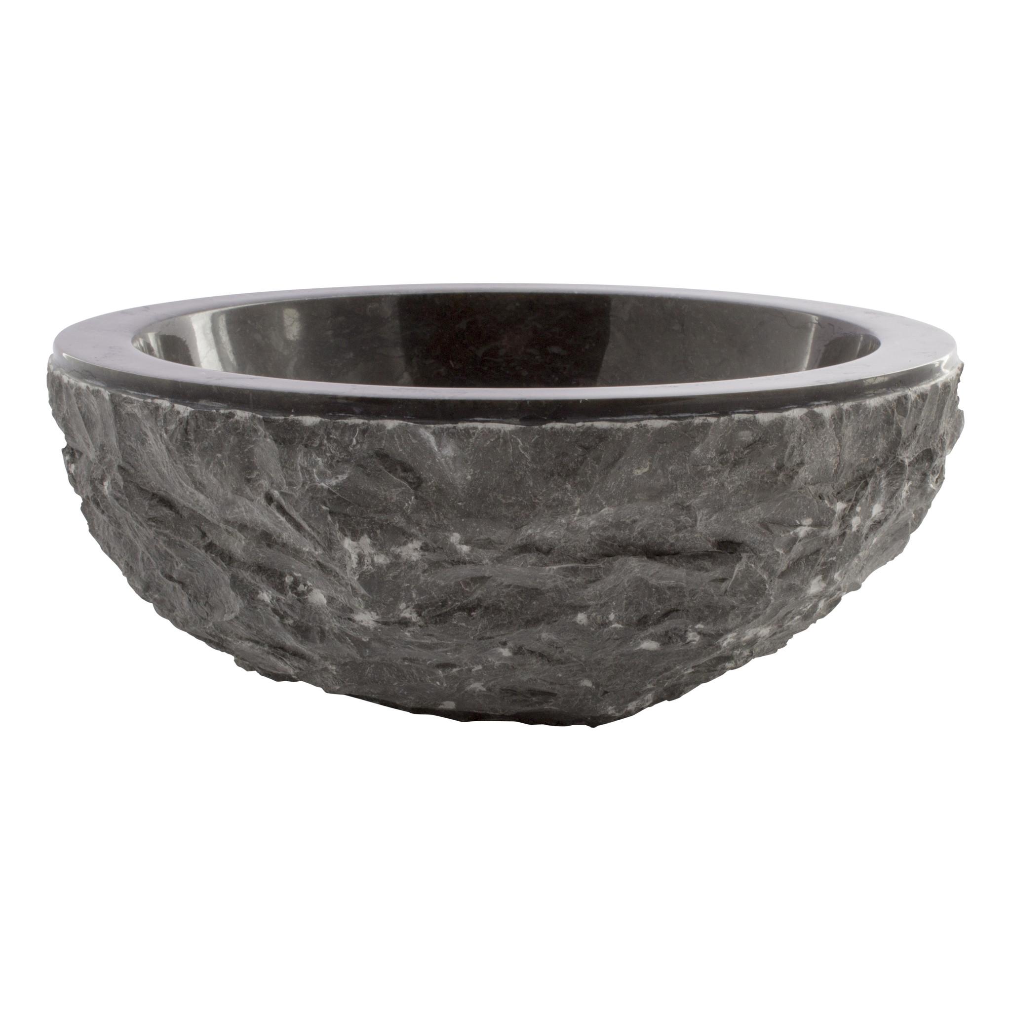 Indomarmer Schwarz Marmor Waschbecken Full-Marmo  Ø 30 x H 12 cm