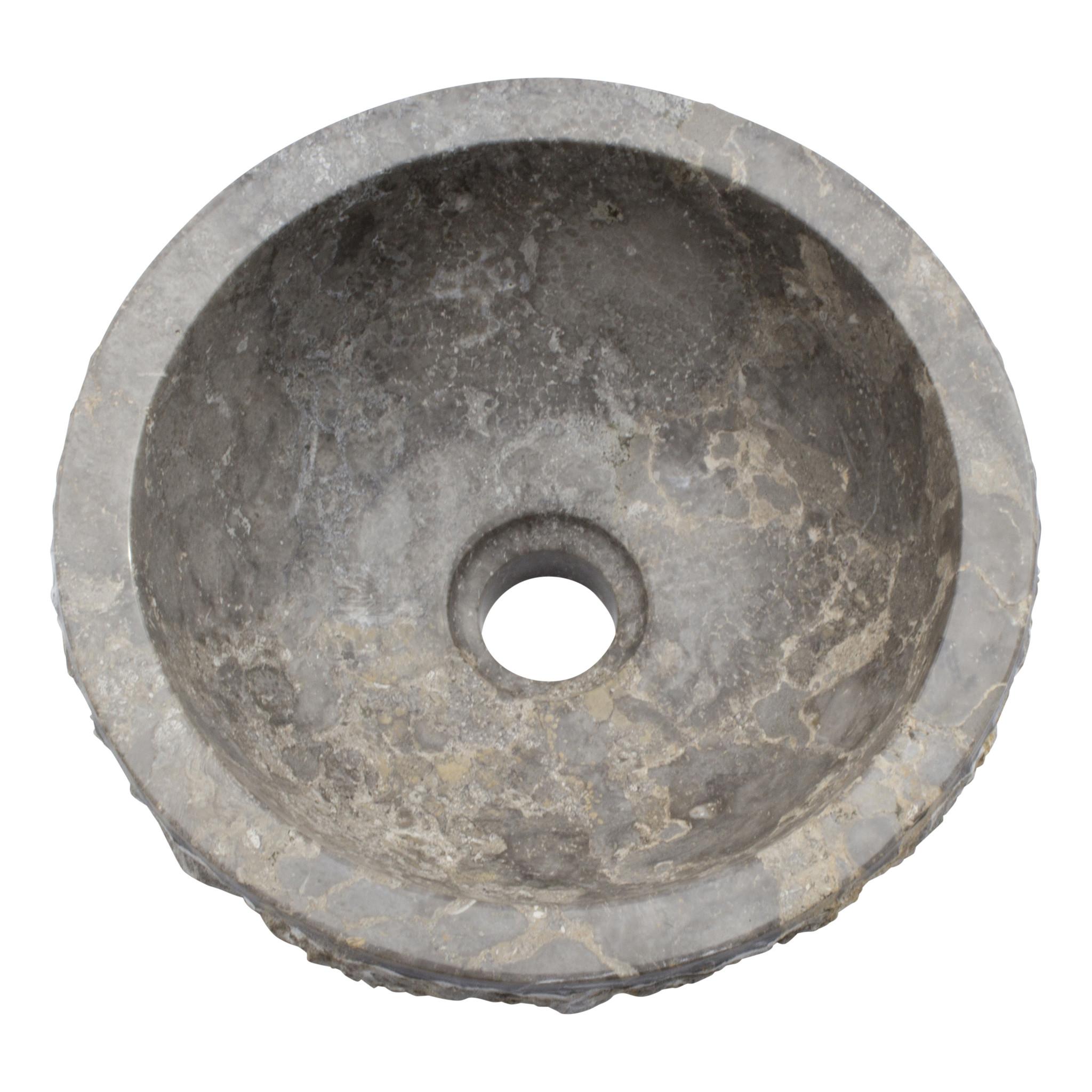 Indomarmer Grauem Marmor Waschbecken Full-Marmo  Ø 30 x H 12 cm