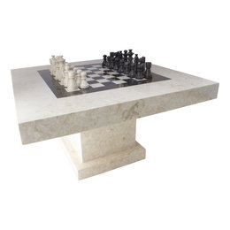 Indomarmer Chess table Square 80x80x45 cm Cream Marble