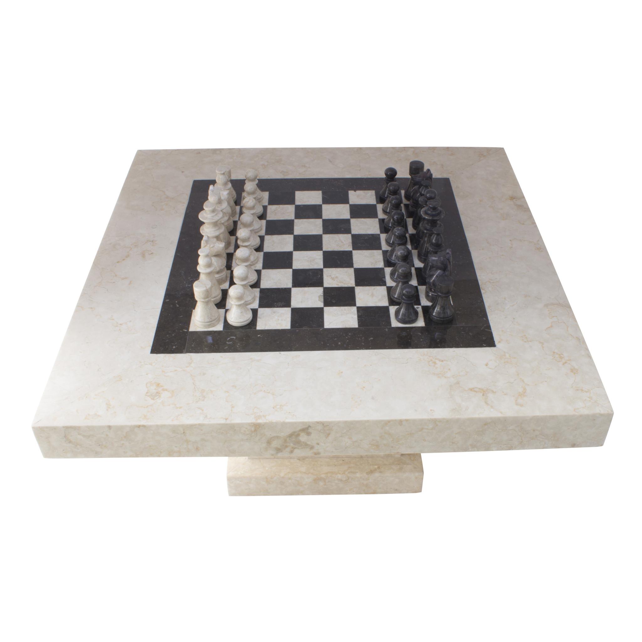 Indomarmer Schachtisch Quadrat 80x80x45 cm Creme Marmor