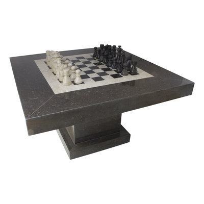 Indomarmer Chess table Square 80x80x45 cm Black Marble