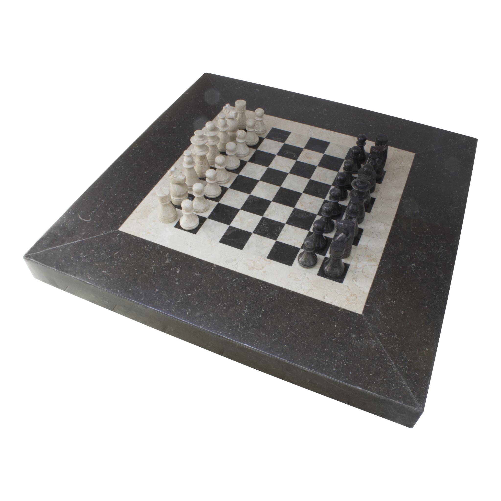 Indomarmer Schachtisch Quadrat 80x80x45 cm Schwarz Marmor