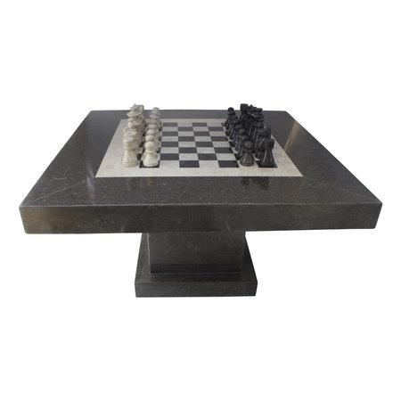 Indomarmer Schaaktafel Vierkant 80x80x45 cm Zwart Marmer
