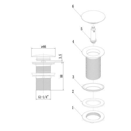 Indomarmer Pop-up Afvoerplug met Lange Schacht 9 cm Mat Zwart