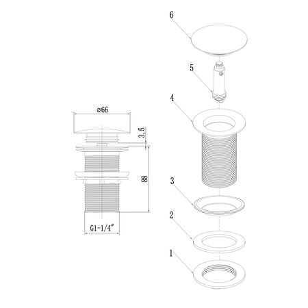 Indomarmer Pop-up Drain Plug with Long Shaft 9 cm Matt Black