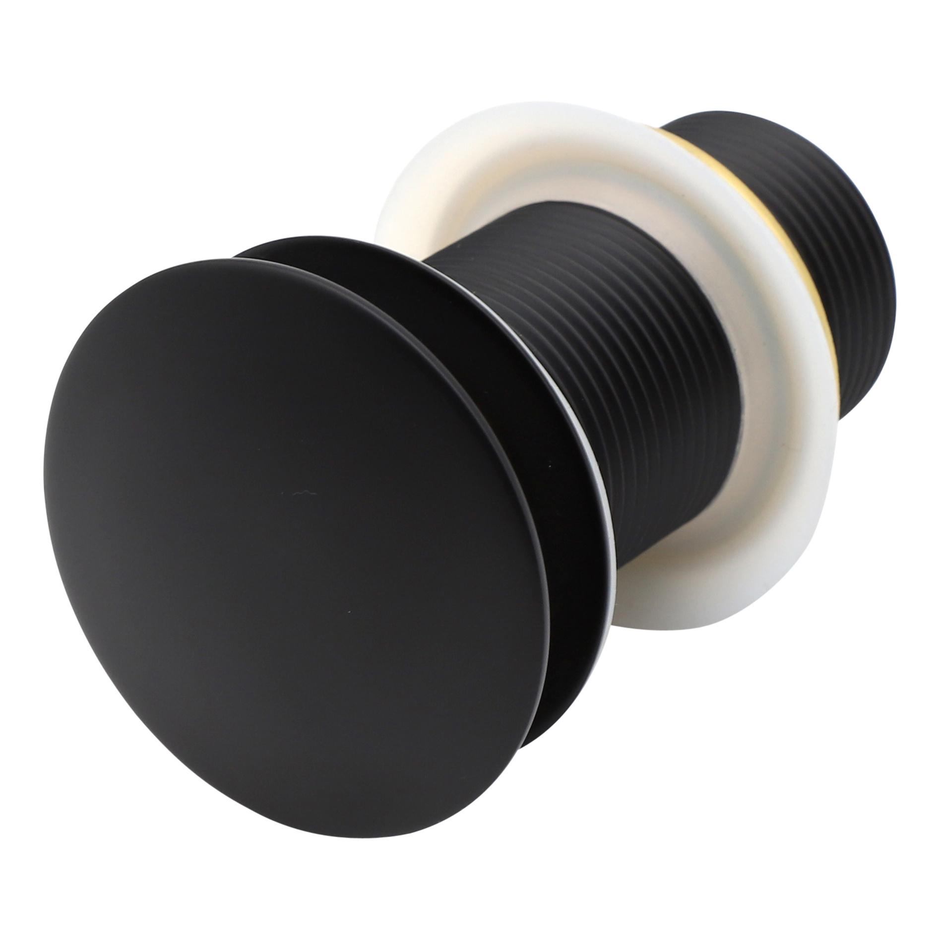 Indomarmer Pop-Up Ablaufventil mit langem Schaft 9 cm Mattschwarz