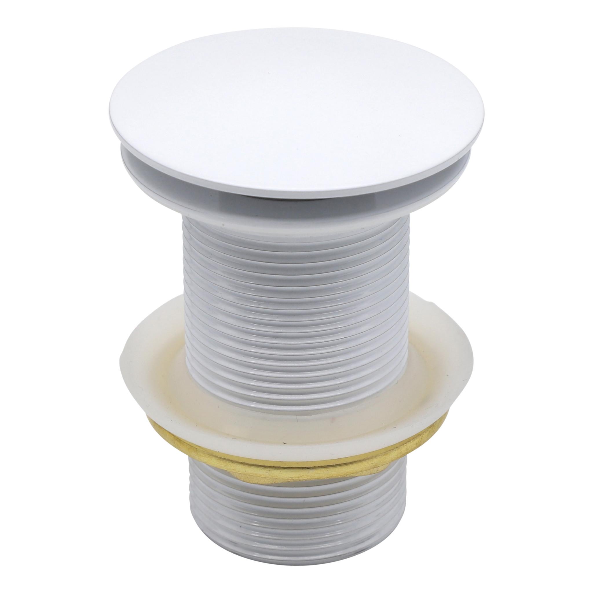Indomarmer Pop-Up Ablaufventil mit langem Schaft 9 cm Weiß