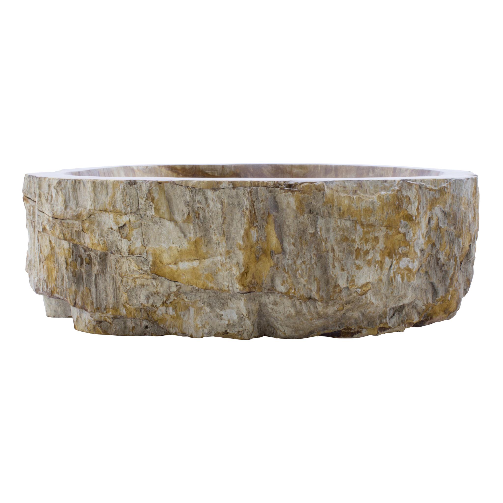 Indomarmer Waschbecken aus Versteinertes Holz 51x44x15cm