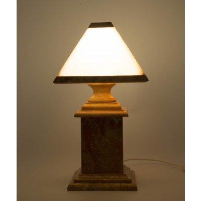 Indomarmer Tischlampe aus Marmor und Onyx Eckig