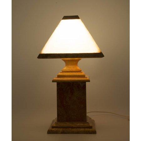 Tischlampe aus Marmor und Onyx Eckig