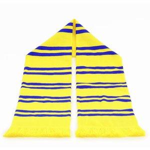 Sjaal geel met blauwe strepen