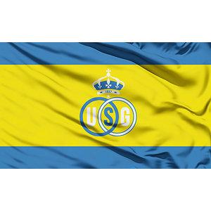 Gele vlag met blauwe strepen