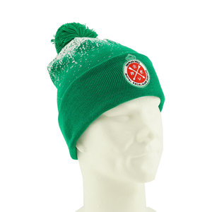 Beanie winter green-white