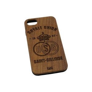 Coque téléphone en bois foncé