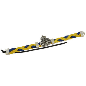 Armband geweven blauw-geel