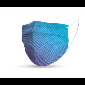 Mondmasker trendy blauw geruite strepen