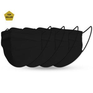 Face mask black cotton set pure black (4x)