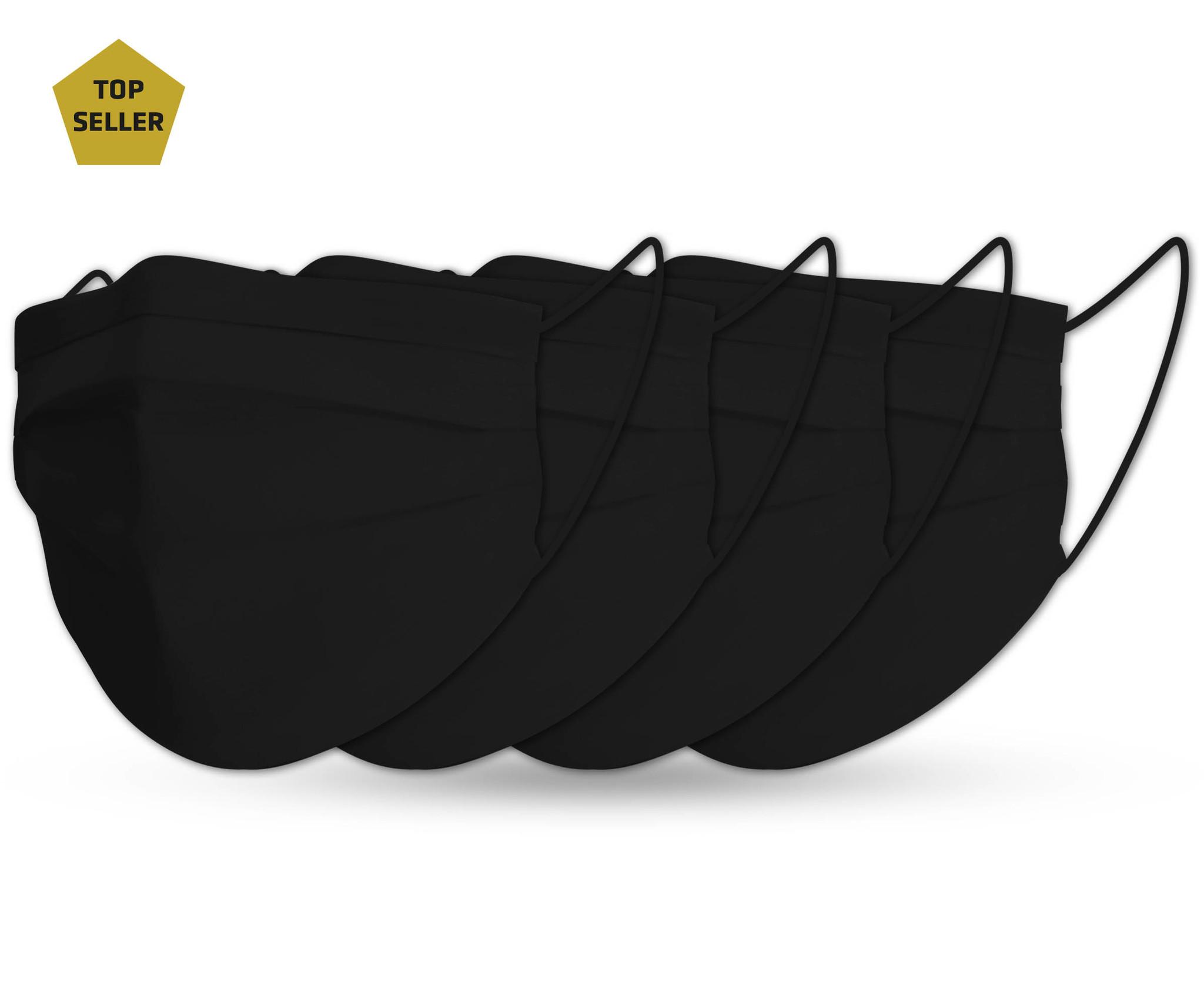 Topfanz Mondmasker black cotton set pure black (4x)