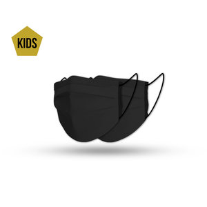 Mondmasker kids black cotton set (2x)