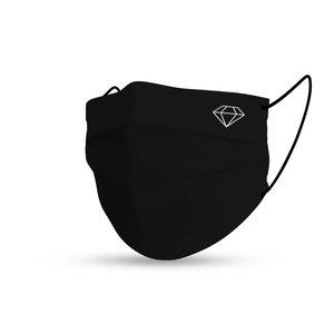 Face mask black cotton diamond