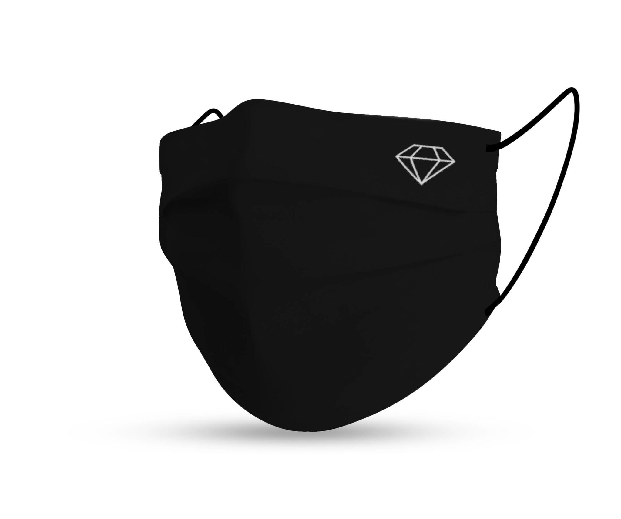 Topfanz Mondmasker black cotton diamond