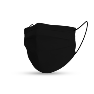 Face mask black cotton pure black - winter soft edition