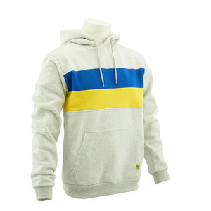 Hoodie grey - yellow/blue stripes