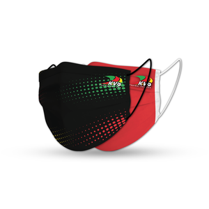 Face mask duopack red stripes black dotted - KVO