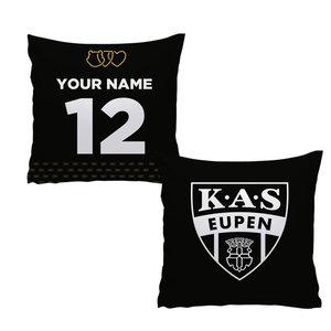 Coussin personnalisé noir logo KAS Eupen