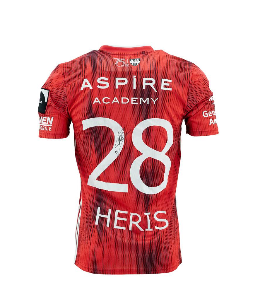KASE Shirt Red - Matchworn vs Charleroi Player Nr 28 Jonathan Heris