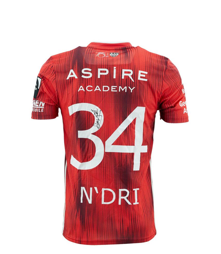 KASE Shirt Red - Matchworn vs Charleroi Player Nr 34 Ignace N'dri