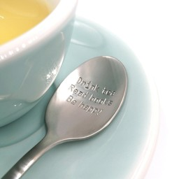 "Style De Vie One Message Spoon - ""Drink tea, read books, be happy"""