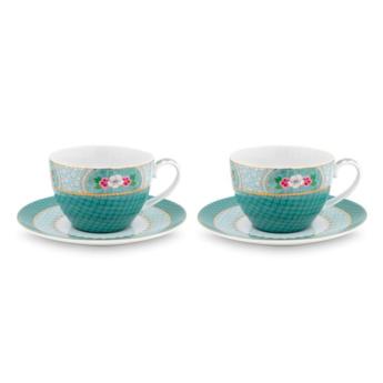 Pip Studio Set van 2 Cappuccino Koppen & Schotels - Blushing Birds Blauw