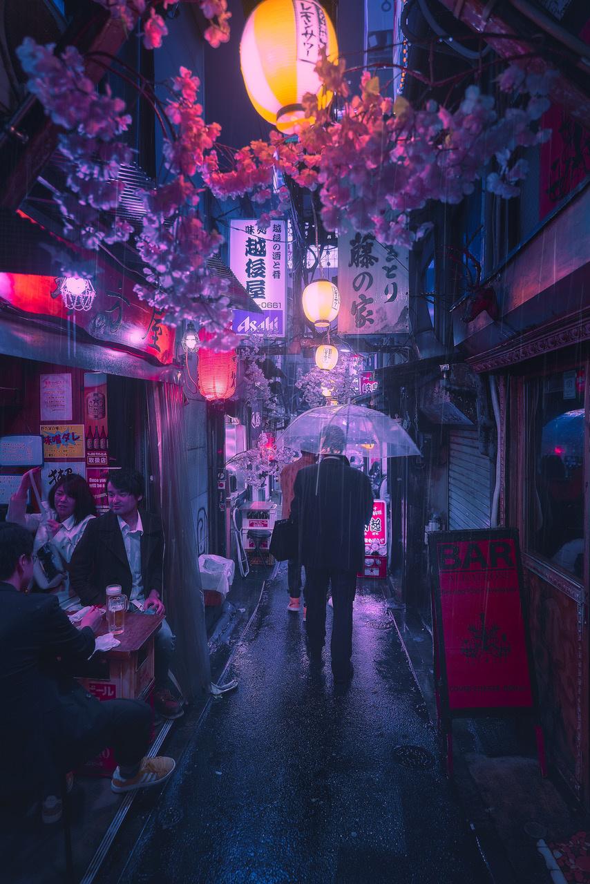Umo Art Gallery Tokyo Blue Rain II