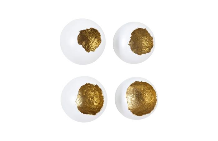 Umo Art Gallery Eggs white/gold set of 4