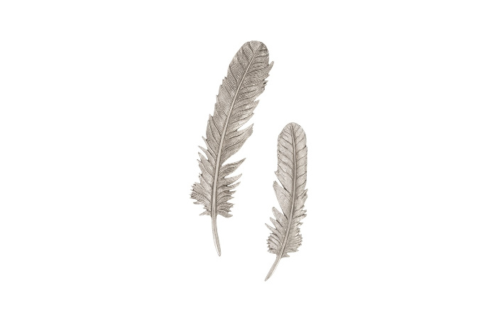 Umo Art Gallery Feathers  S set of 2 Silver