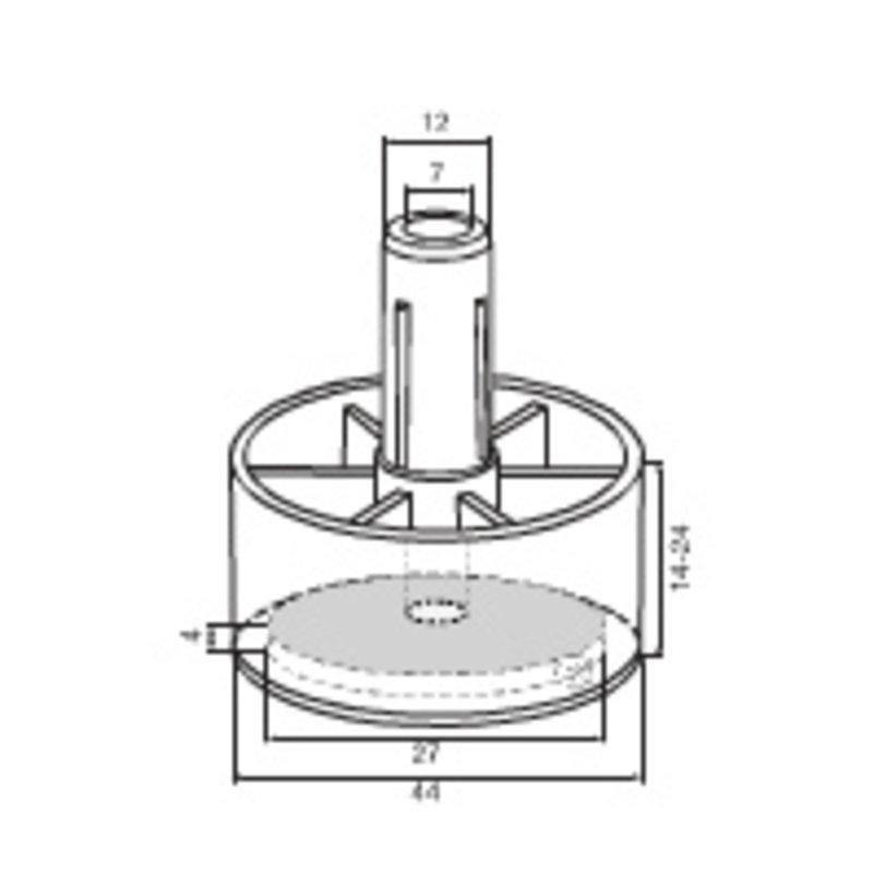 Meubelpootje ECO-click rond met vervangbaar vilt 11 mm pin