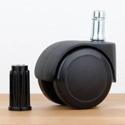 Bureaustoelwiel 50 mm zacht loopvlak ronde dop