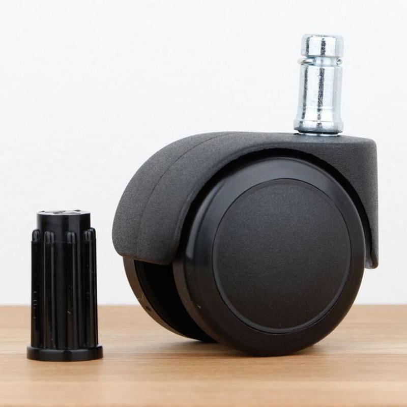 Bureaustoelwiel 50 mm zacht loopvlak met ronde dop